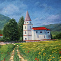 The Sunny Road Landscape With Field And Church by Katrin Aster
