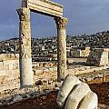 The Temple Of Hercules And Sculpture Of A Hand In The Citadel Amman Jordan by Robert Preston
