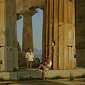 The Temple Of Poseidon. Paestum by Constantin Hansen
