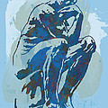 The Thinker - Rodin Stylized Pop Art Poster by Kim Wang
