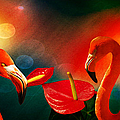 The Three Flamingos - Featured In 'feathers And Beaks' 'wildlife' And 'comfortable Art'  Groups by Ericamaxine Price