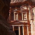 The Treasury Seen From From The Siq Petra Jordan by Robert Preston