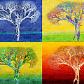 The Tree 4 Seasons - Painterly - Abstract - Fractal Art by Andee Design