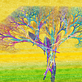 The Tree In Spring At Midday - Painterly - Abstract - Fractal Art by Andee Design