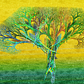 The Tree In Summer At Sunrise - Painterly - Abstract - Fractal Art by Andee Design