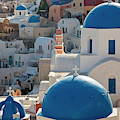 The Village Of Oia Santorini Cyclades by Peter Adams