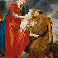 The Virgin Presents The Infant Jesus To Saint Francis by Peter Paul Rubens