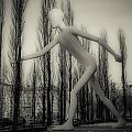 The Walking Man - Bw by Hannes Cmarits