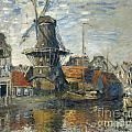 The Windmill On The Onbekende Gracht Amsterdam by Claude Monet