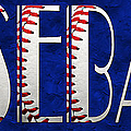 The Word Is Baseball On Blue by Andee Design
