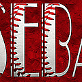 The Word Is Baseball On Red by Andee Design
