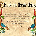 Think On These Things Fraktur by Joan Shaver