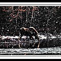 Thirsty Moose Impressionistic Painting With Borders by Barbara Griffin
