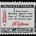 Thomas Jefferson American Credo Vintage Postage Stamp Print by Andy Prendy