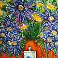 Blue Flowers Yellow And A Perfume Bottle by Martha Nelson