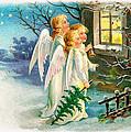 Three Angels In White Dresses by Munir Alawi