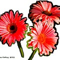Three Bright Red Flowers by Bruce Nutting