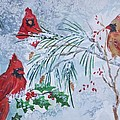 Three Cardinals In The Snow With Holly by Ellen Levinson