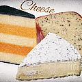 Three Cheese Wedges Distressed Text by Iris Richardson