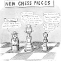 Three Chess Pieces Are Seen On A Chess Board by Roz Chast