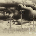Three Crosses Sepia by Thomas R Fletcher