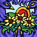 Three Crows And Sunflowers by Genevieve Esson
