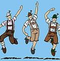Three Dancing Oktoberfest Lederhosen Men by Frank Ramspott