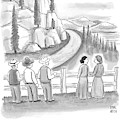 Three Frontiersmen And Two Women Watch A Mountain by Paul Noth