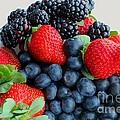 Three Fruit 2 - Strawberries - Blueberries - Blackberries by Barbara Griffin