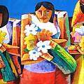 Three Girls With Flowers by William Yu