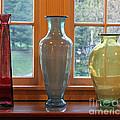 Three Glass Vases In A Window by Karen Adams