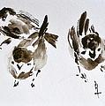 Three Little Birds Perch By My Doorstep by Beverley Harper Tinsley