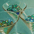 Three Martini Glasses With Jewels by Sarah Parks