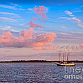 Three Masted Schooner At Anchor In The St Marys River by Louise Heusinkveld
