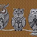 Three Owls On A Branch Leopard Print by Karen Larter
