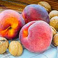 Three Peaches And Some Walnuts by Alain De Maximy