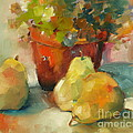 Three Pears And A Pot by Michelle Abrams