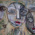 Three Portraits On Paper by Laurie Maves ART