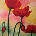 Three Red Poppies by Darla Brock