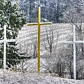 Three Roadside Crosses - Mount Airy Md Winter by Michael Mazaika