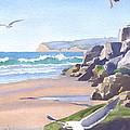 Three Seagulls at Coronado Beach by Mary Helmreich