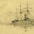 Three Ships At Sea, 1860-1865, Drawing, 1862-1865 by Quint Lox