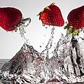 Three Strawberries Freshsplash by Steve Gadomski