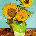 Three Sunflowers In A Vase by Vincent Van Gogh