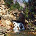 Three Swimmers At Waterfall Pool by Jon David