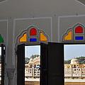 Three windows at the Hawa Mahal Jaipur Rajashan India