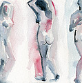 Three Women Pink And Blue Watercolor Nude Figure Painting by Beverly Brown