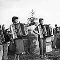 Three Young Accordion Players by Underwood Archives