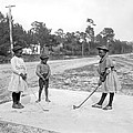 Three Young Children Play Golf by Underwood Archives