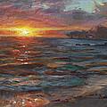 Through The Vog - Hawaii Beach Sunset by Karen Whitworth